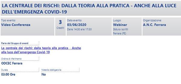 Centrale rischi PRO locandina webinar 03 06 2020 crediti ODCEC Ferrara
